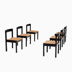 Vintage Black Ebonized Dining Chairs, Set of 6
