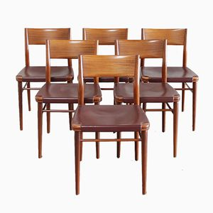 Mid-Century German 351/ 3 Dining Chairs by Georg Leowald for Wilkhahn, 1950s, Set of 6
