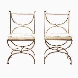 Stühle mit Stuhlbeinen in X-Form von Maison Jansen, 2er Set