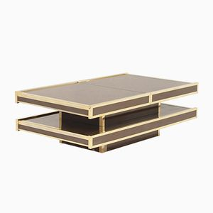 Vintage Italian Brass Coffee Table with Bar Compartment