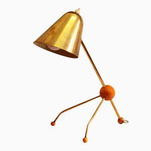 Lampe de Bureau Mid-Century en Laiton et en Thermodur par Jacques Biny, 1950s
