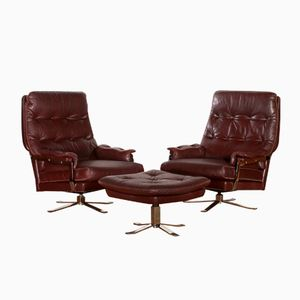 Leather Lounge Chairs and Ottoman by Arne Norell for Vatne Møbler, 1960s, Set of 3