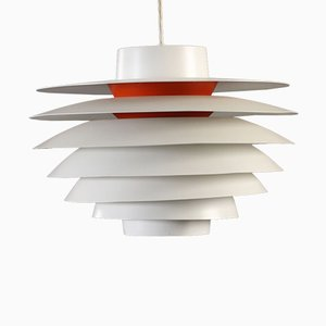 White & Red Verona Pendant Lamp by Svend Middelboe for Nordisk Solar, 1960s