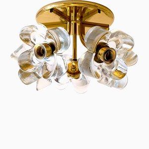 Mid-Century Blumen Deckenlampe aus Milchglas & Messing von J.T. Kalmar für Mazzega