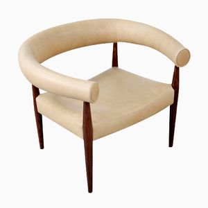 Aniline Leather Ring Easy Chair by Nanna Ditzel for Kolds Savværk