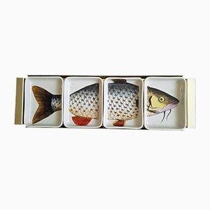 Italienischer Fisch Vorspeiseteller aus Porzellan von Piero Fornasetti, 1960er
