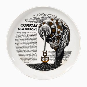 Vintage Italian Recipe Plate by Piero Fornasetti for Fleming Joffe, 1960s