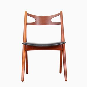 CH-29 Teak Sawbuck Chair by Hans J. Wegner for Carl Hansen, 1950s