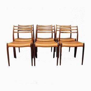 Model 78 Dining Chairs by N.O. Moeller for J.L. Moeller, 1970s, Set of 6