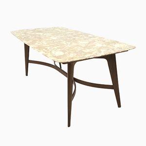 Mid-Century Onyx & Mahogany Dining Table