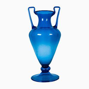 Grand Vase Vintage en Verre Bleu, Italie