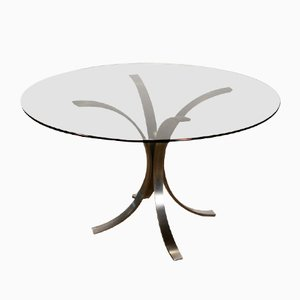 Vintage Steel & Smoked Glass Dining Table by Osvaldo Borsani for Roche Bobois