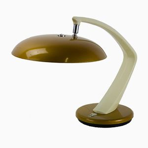 White & Gold Desk Lamp from Fase Madrid, 1970s
