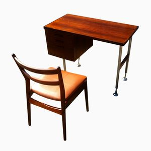 Small Danish Modern Rosewood Desk with Rosewood Side Chair by Arne Vodder