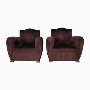 Art Deco Style Velvet Club Chairs, Set of 2