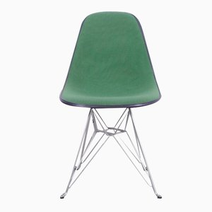 Black Fiberglass Chair with Green Upholstery by Charles & Ray Eames for Herman Miller, 1970s