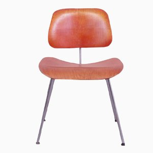 DCM Dining Chair in Red Aniline by Charles and Ray Eames for Herman Miller