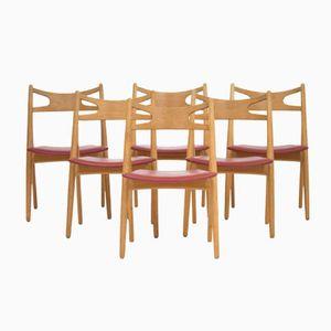 Sawbuck Dining Chairs by Hans J. Wegner for Carl Hansen & Søn, 1960s, Set of 6