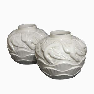 French Art Deco Ceramic Vases, 1930s, Set of 2