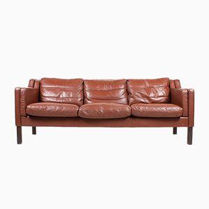 Vintage Danish Three-Seater Leather Sofa, 1980s