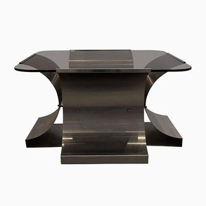 French Stainless Steel and Glass Coffee Table by François Monnet for Kappa, 1970s