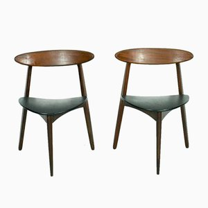 Heart Chairs by Hans J Wegner for Fritz Hansen, Set of 2