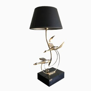 Vintage Gilt Metal Geese Lamp by L. Galeotti