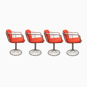 Chromed Tulip Wire Swivel Chairs, 1970s, Set of 4