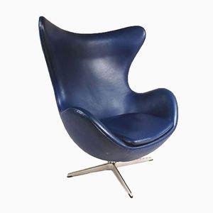 Blauer Dänischer Egg Stuhl von Arne Jacobsen für Fritz Hansen, 1950er
