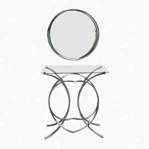 Table Console Chromée avec Miroir, Allemagne, 1960s