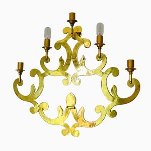 Large Regency Italian Brass Wall Sconce, 1960s
