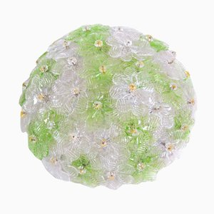 Green & Gold Murano Glass Flower Ceiling Lamp by Ercole Barovier, 1960s