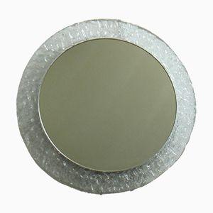 German Round Backlit Ice-Glass Mirror, 1960s
