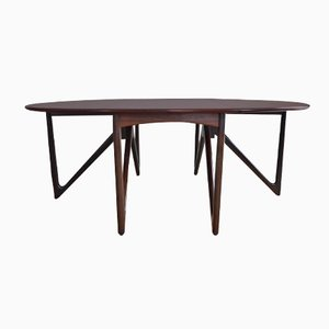 Danish Oval Dropleaf Rosewood Dining Table by Kurt Ostervig for Jason Møbler, 1950s
