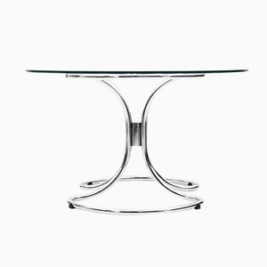 Italian Glass and Chrome Dining Table, 1970s