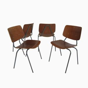 Vintage Teak Industrial Dining Chairs by Kho Liang Ie for Car, Set of 6