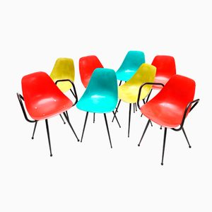 Colorful Dining Chairs by Pierre Guariche, Set of 8