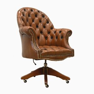 English Cognac Leather Chesterfield Executive Chair, 1970s