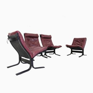 Norwegian High and Low Back Siesta Chairs by Ingmar Relling for Westnofa, 1970, Set of 4