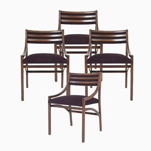 Italian Walnut and Velvet Dining Chairs by Ico Parisi for Brugnoli, 1959, Set of 4