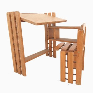 Foldable Scandinavian Pine Childrens Desk, 1970s