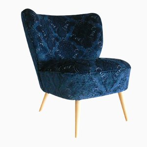 German Navy Velvet Club Chair, 1950s