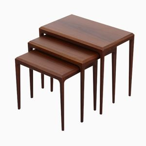 Tables Gigognes en Palissandre par Johannes Andersen pour Silkeborg, 1960s, Set de 3