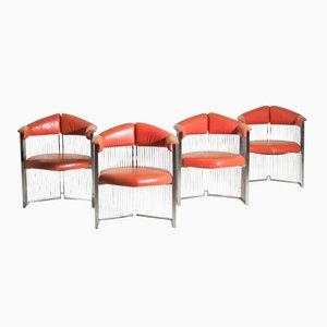 Italienische Armlehnstühle aus Verchromten Stahl & Leder, 4er Set