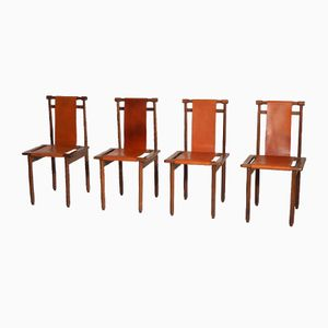 Vintage Walnut and Leather Chairs, 1960s, Set of 4