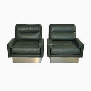 Racing Green Leather Armchairs by Jacques Charpentier, 1970s, Set of 2
