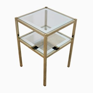 Vintage French Brass Mirrored Side Table, 1970s
