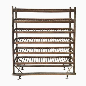 Vintage Industrial Wooden Bakery Rack, 1940s