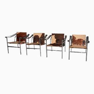 Französische LC1 Stühle von Le Corbusier für Cassina, 1970, 4er Set