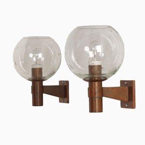 Lampade da parete in ottone con sfere e lacrime in vetro, Olanda, anni '60, set di 2